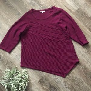 Plum 3/4 sleeve asymmetrical sweater